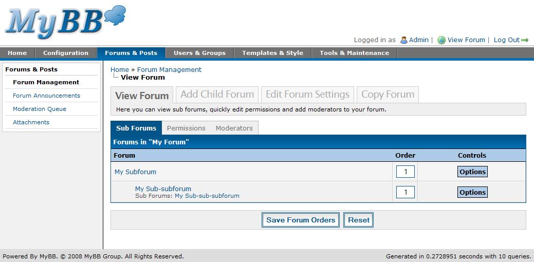 Forum Management - MyBB Documentation